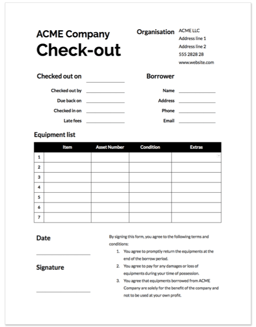 Check In Check Out Sheet Template from www.cheqroom.com